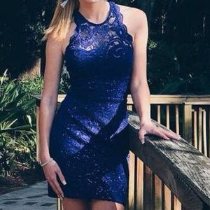 blue sequins bodycon homecoming dress